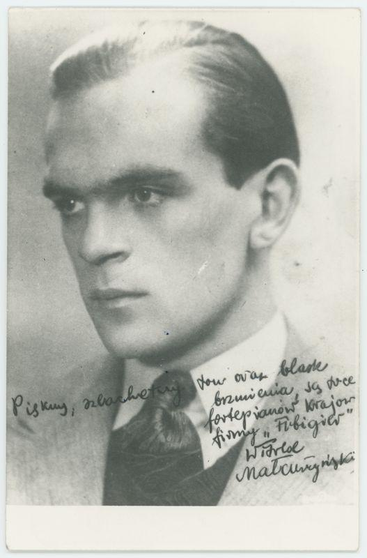 Portret pianisty Witolda Małcużyńskiego z dedykacją dla firmy Arnolda Fibigera