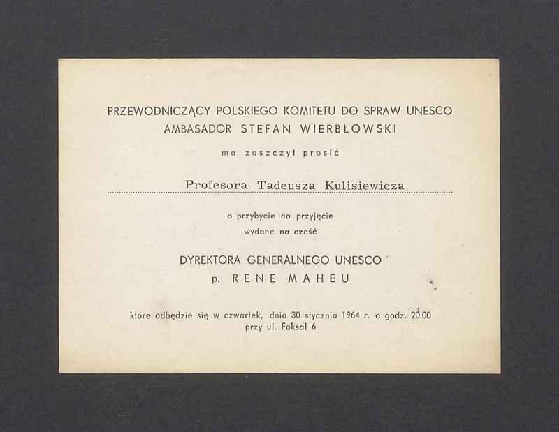 Zaproszenie na przyjęcie od Przewodniczącego Polskiego Komitetu do spraw UNESCO