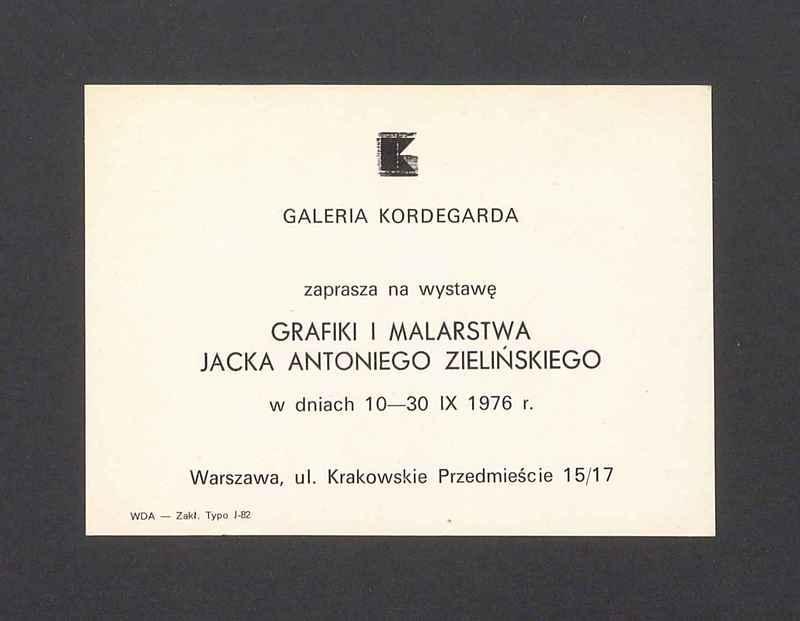 Zaproszenie na wystawę grafiki i malarstwa Jacka Antoniego Zielińskiego