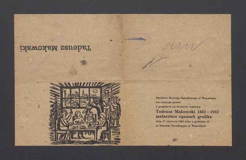 """Zaproszenie na otwarcie wystawy """"Tadeusz Makowski 1882-1932. Malarstwo rysunek grafika"""""""