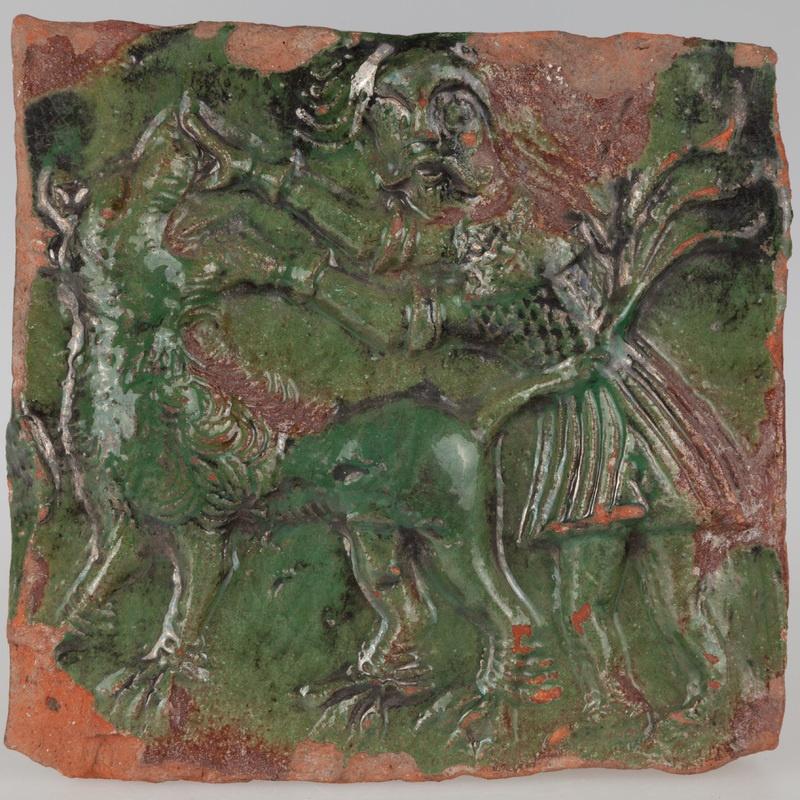 Kafel z postacią Samsona walczącego z lwem
