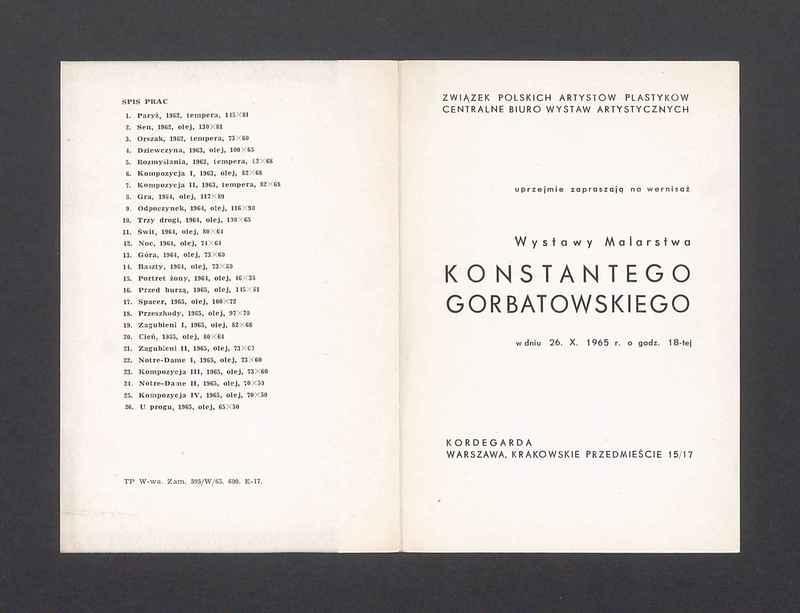 Zaproszenie na wernisaż wystawy malarstwa Konstantego Gorbatowskiego