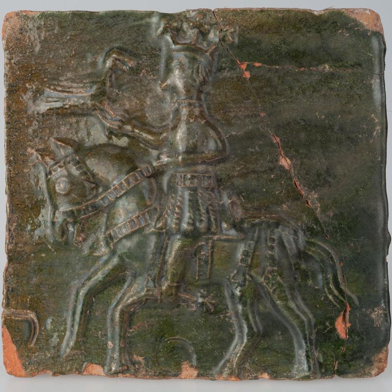 Kafel przedstawiający króla z sokołem na łowach