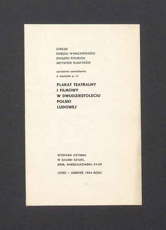 """Zawiadomienie o wystawie """"Plakat teatralny i filmowy w dwudziestoleciu Polski Ludowej"""""""