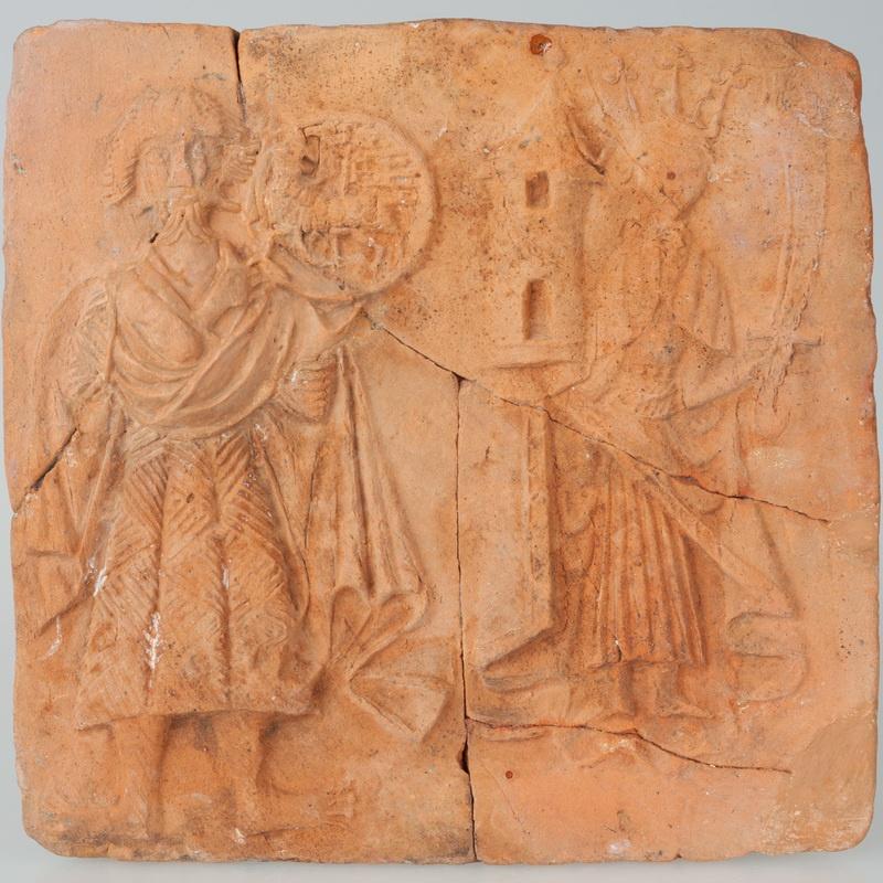 Kafel z wyobrażeniem św. Barbary i św. Jana Chrzciciela