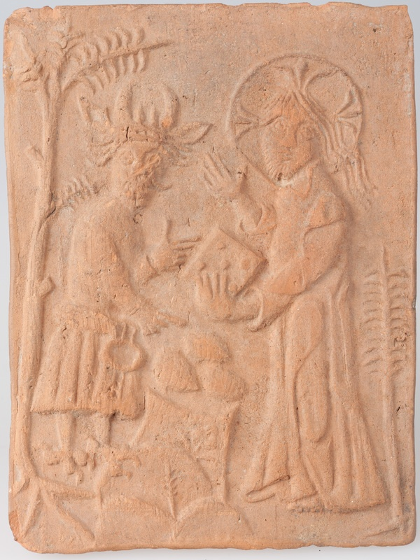 Kafel ze sceną kuszenia Chrystusa
