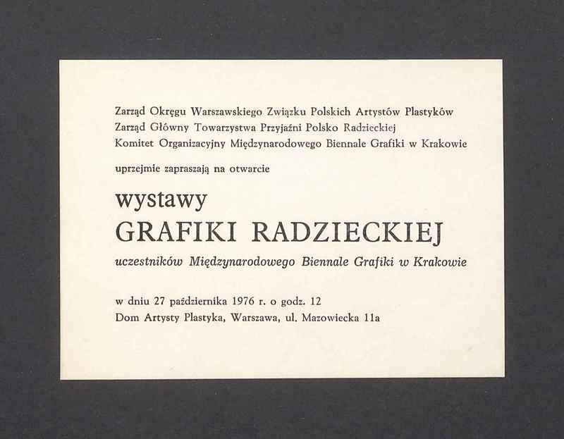 Zaproszenie na otwarcie wystawy grafiki radzieckiej
