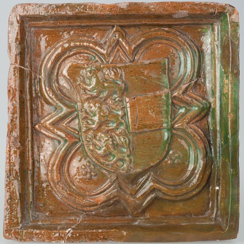 Kafel oblistwowany z herbem obcego pochodzenia