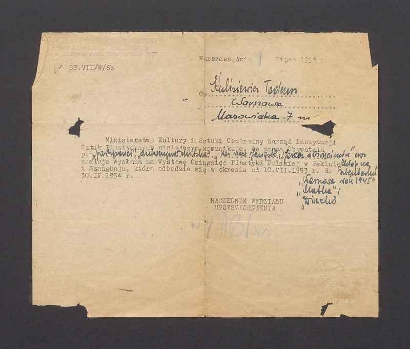 Informacja o wysłaniu prac T. Kulisiewicza na Wystawę Osiągnięć Plastyki Polskiej w Pekinie i Szanghaju