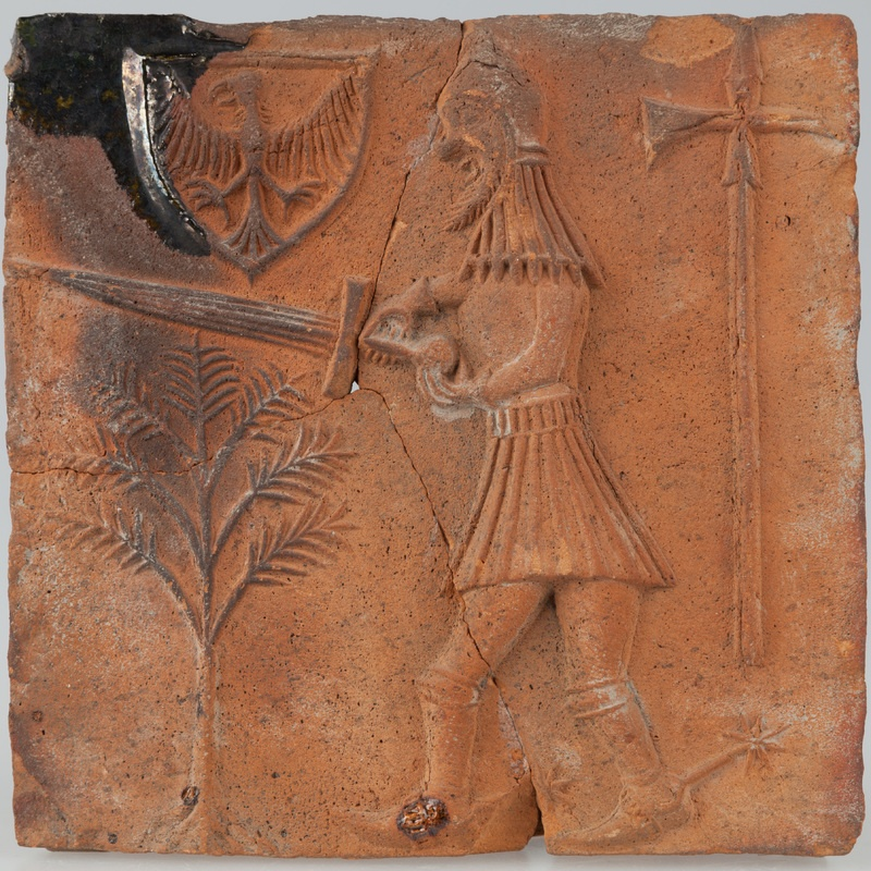 Kafel z rycerzem i herbem Orzeł