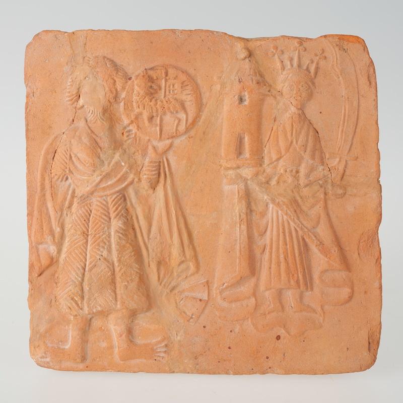 Kafel ze św. Janem Chrzcicielem i św. Barbarą