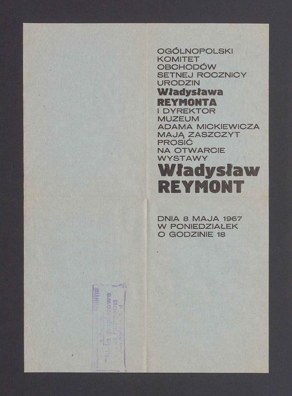 """Zaproszenie na otwarcie wystawy """"Władysław Reymont"""""""