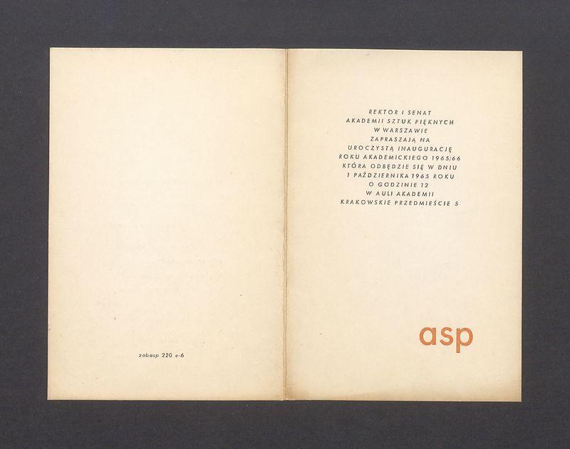 Zaproszenie na inaugurację roku akademickiego 1965/66 na ASP
