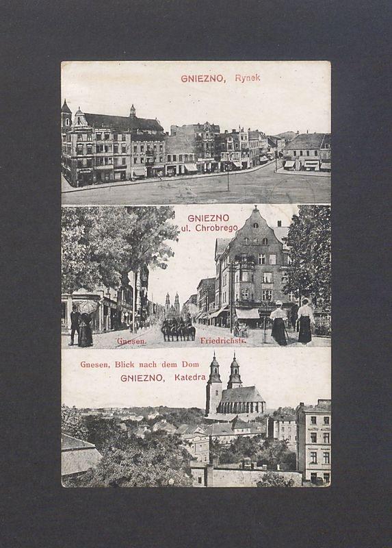 Gniezno. Rynek, ul. Chrobrego, katedra.
