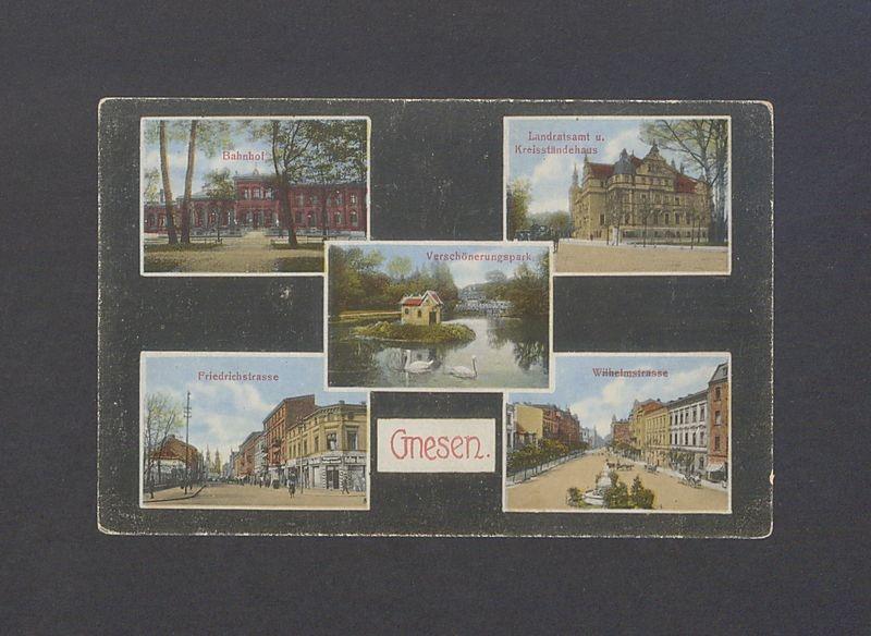 Pocztówka wieloobrazkowa. Dworzec kolejowy, Starostwo (Urząd Miasta), Park Miejski, ul. Chrobrego, ul. Dąbrówki.