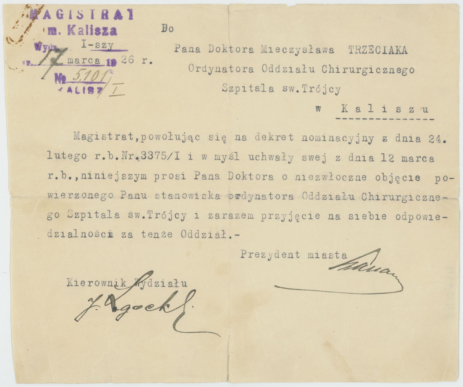 Pismo powołujące Mieczysława Trzeciaka na stanowisko ordynatora oddz. chirurgii kaliskiego Szpitala św. Trójcy