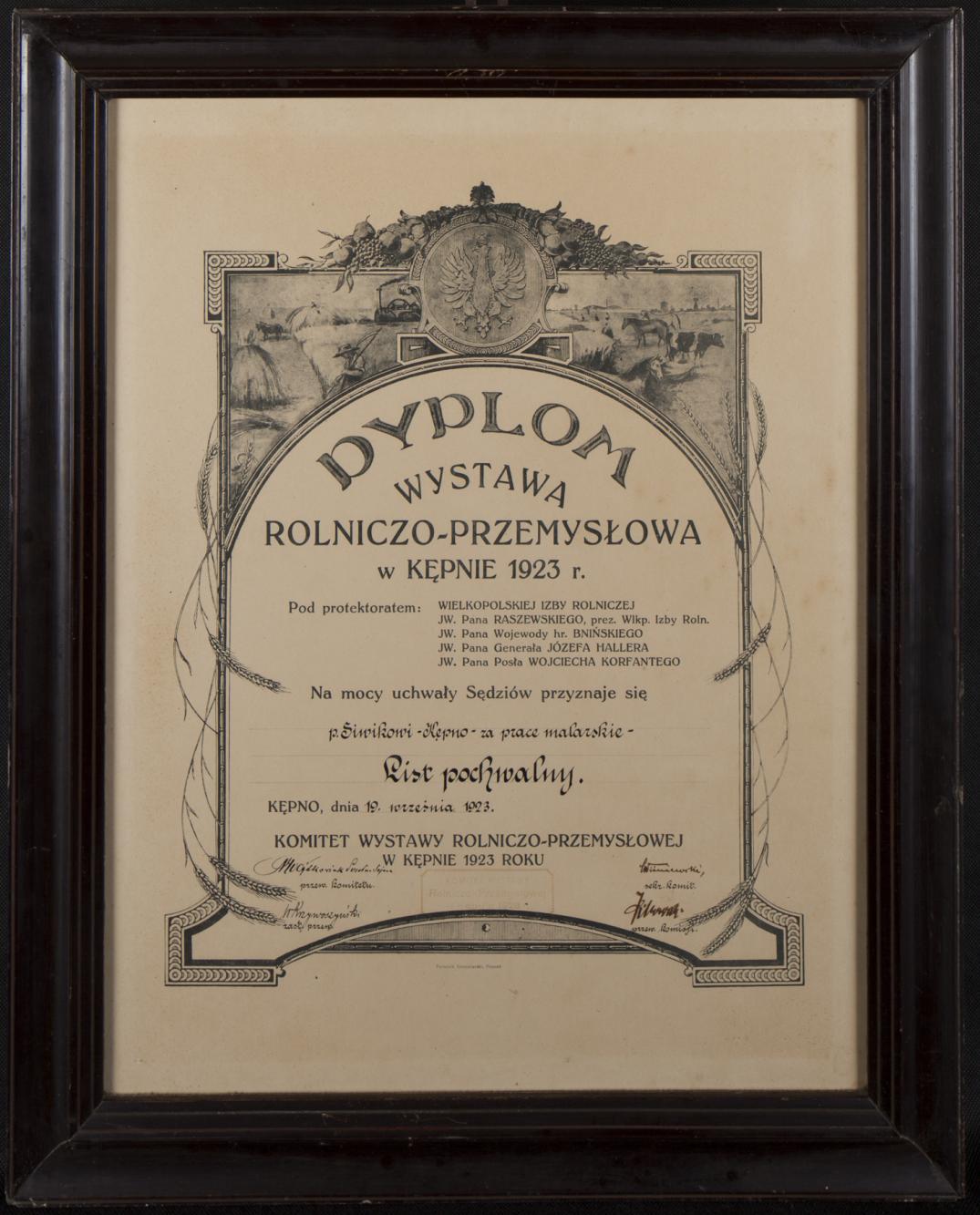 Dyplom Wystawy Rolniczo-Przemysłowej w Kępnie 1923 r.