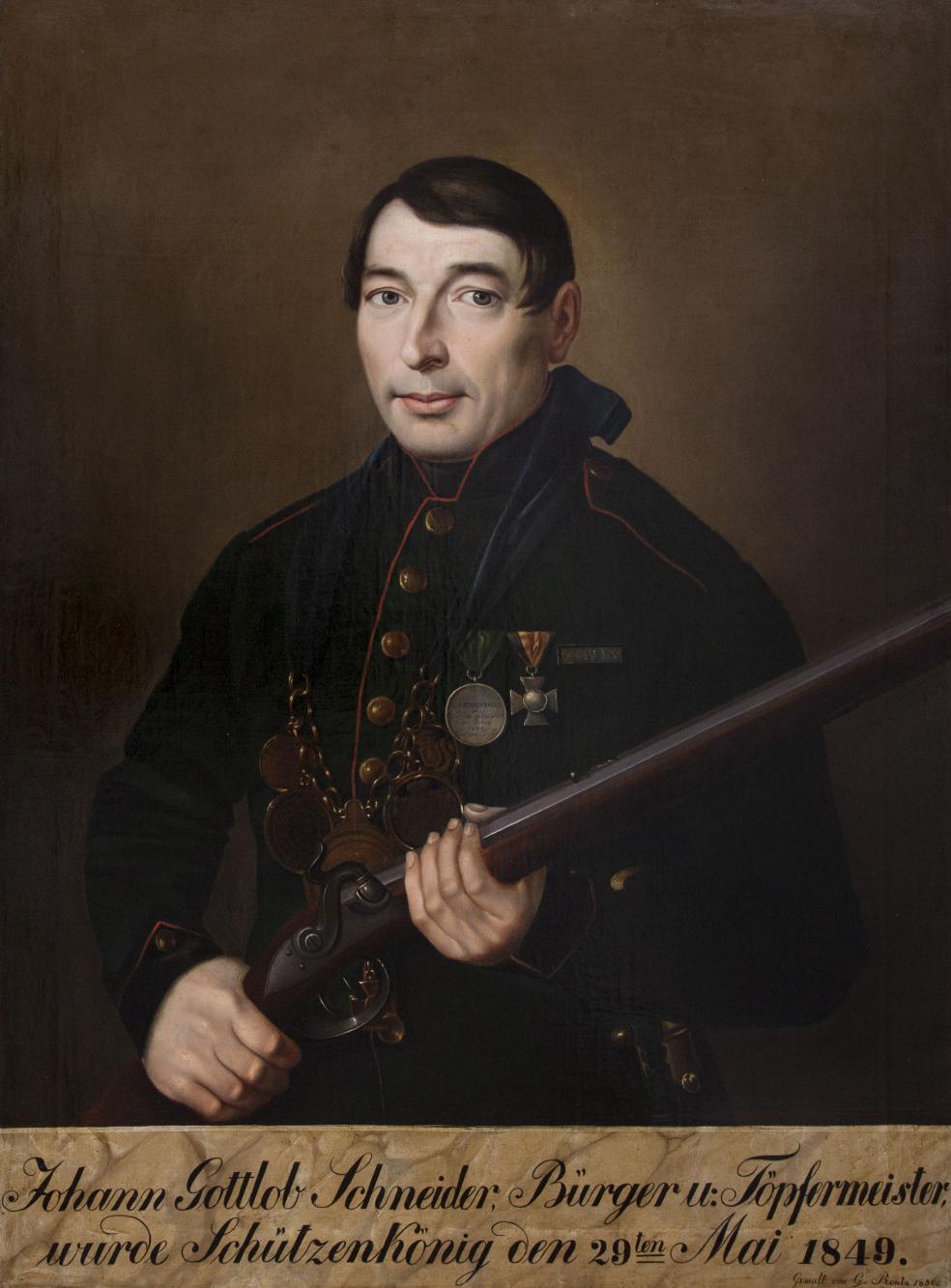 Portret króla kurkowego Johanna Gottloba Schneidera