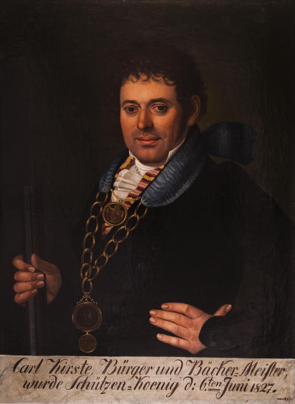 Portret króla kurkowego Carla Kirste