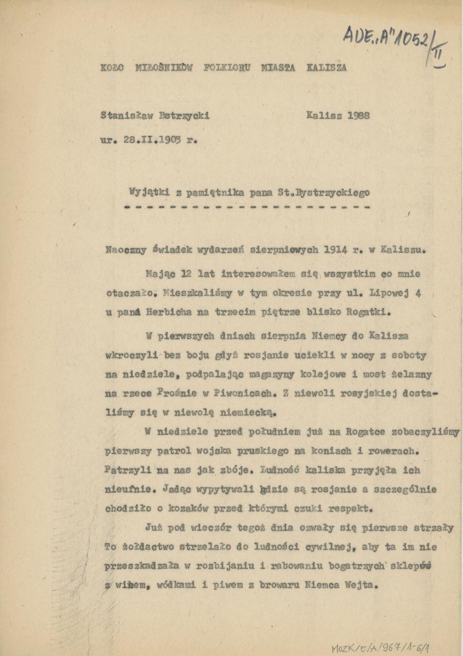 Wyjątki z pamiętnika pana St. Bystrzyckiego