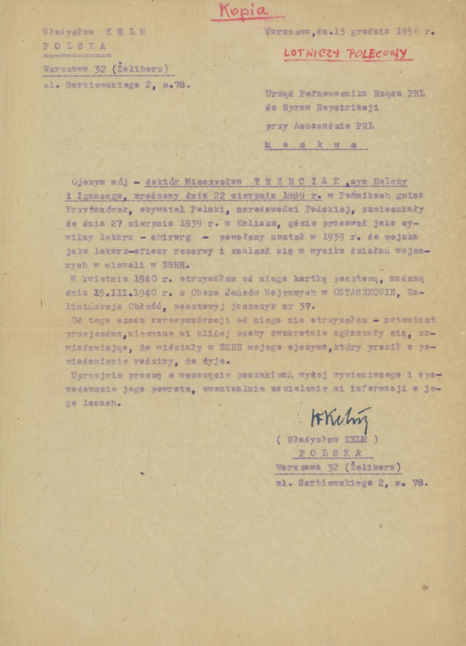 Pismo W. Kelma do Urzędu Pełnomocnika Rządu PRL ds. repatriacji