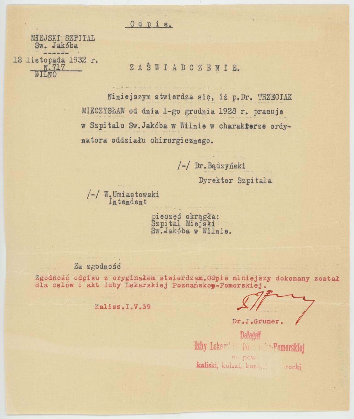Zaświadczenie o pracy Mieczysława Trzeciaka w Szpitalu św. Jakuba w Wilnie