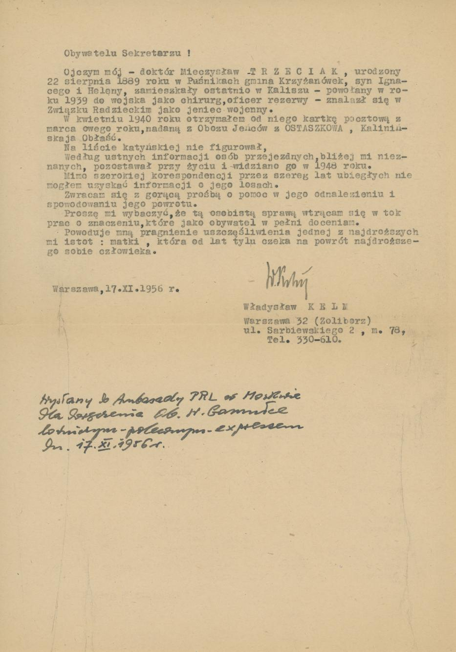 Pismo W. Kelma do Ambasady PRL w Moskwie dot. Mieczysława Trzeciaka