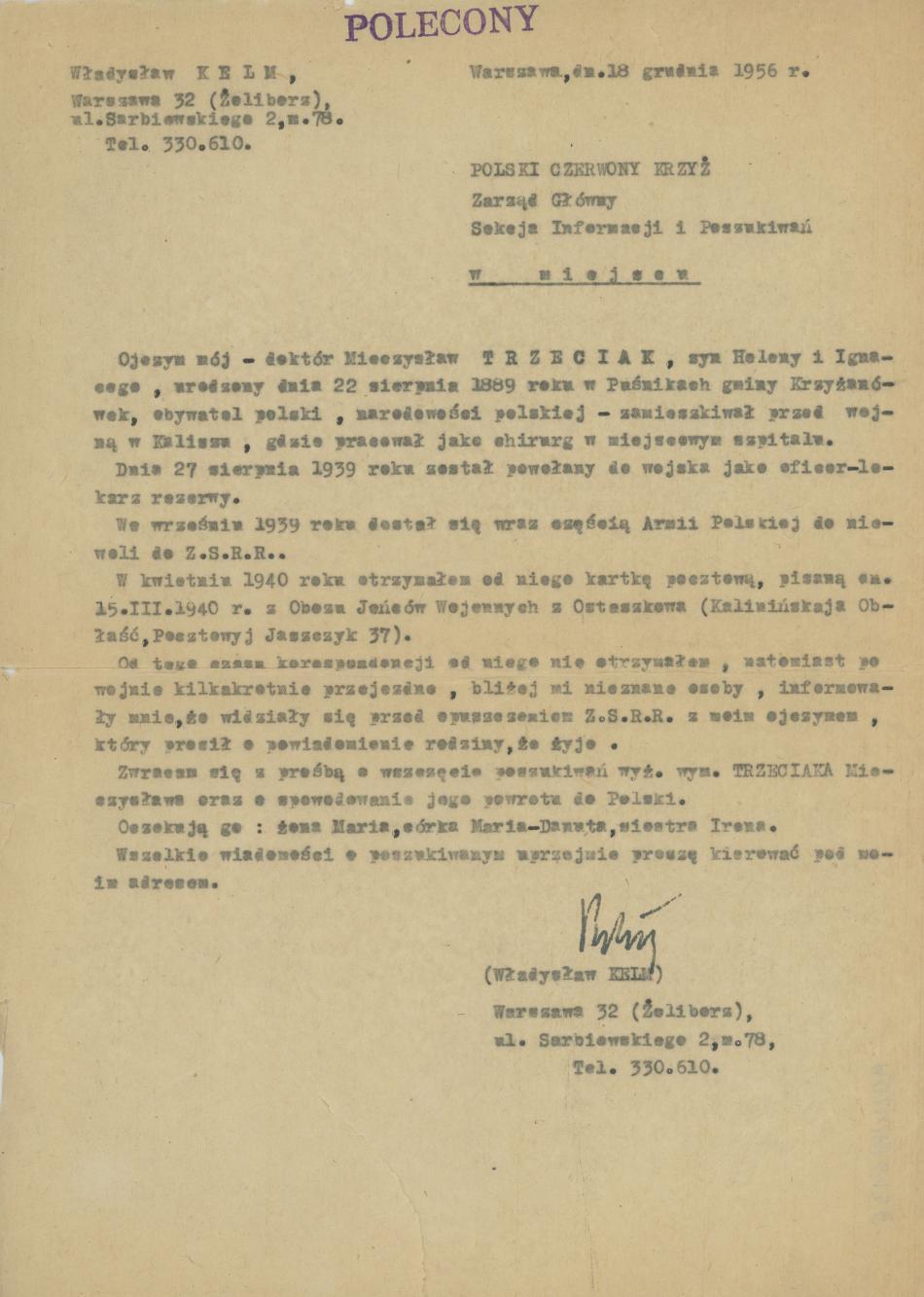 Pismo W. Kelma do PCK ws. Mieczysława Trzeciaka