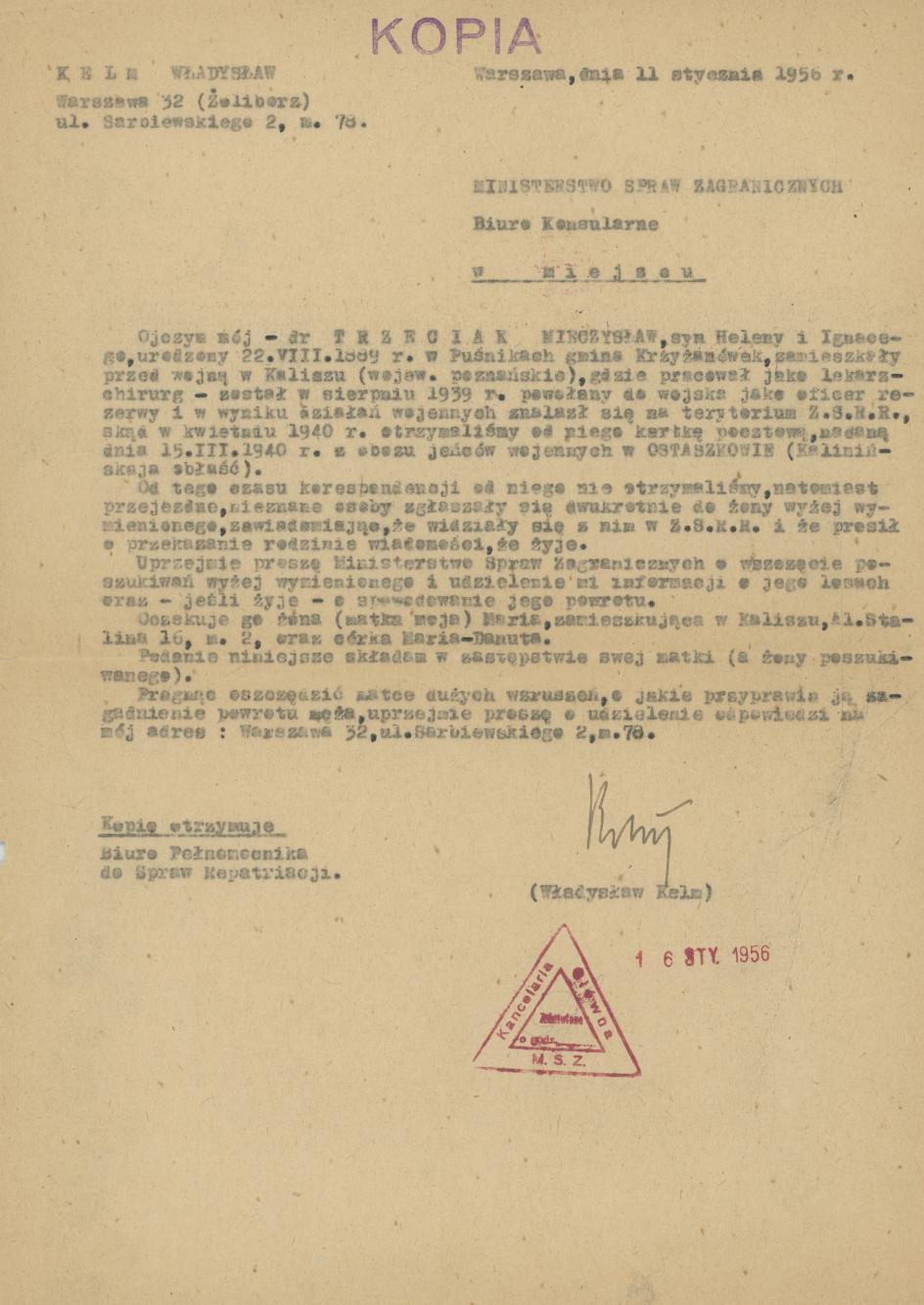 Pismo W. Kelma do Ministerstwa Spraw Zagranicznych ws. Mieczysława Trzeciaka