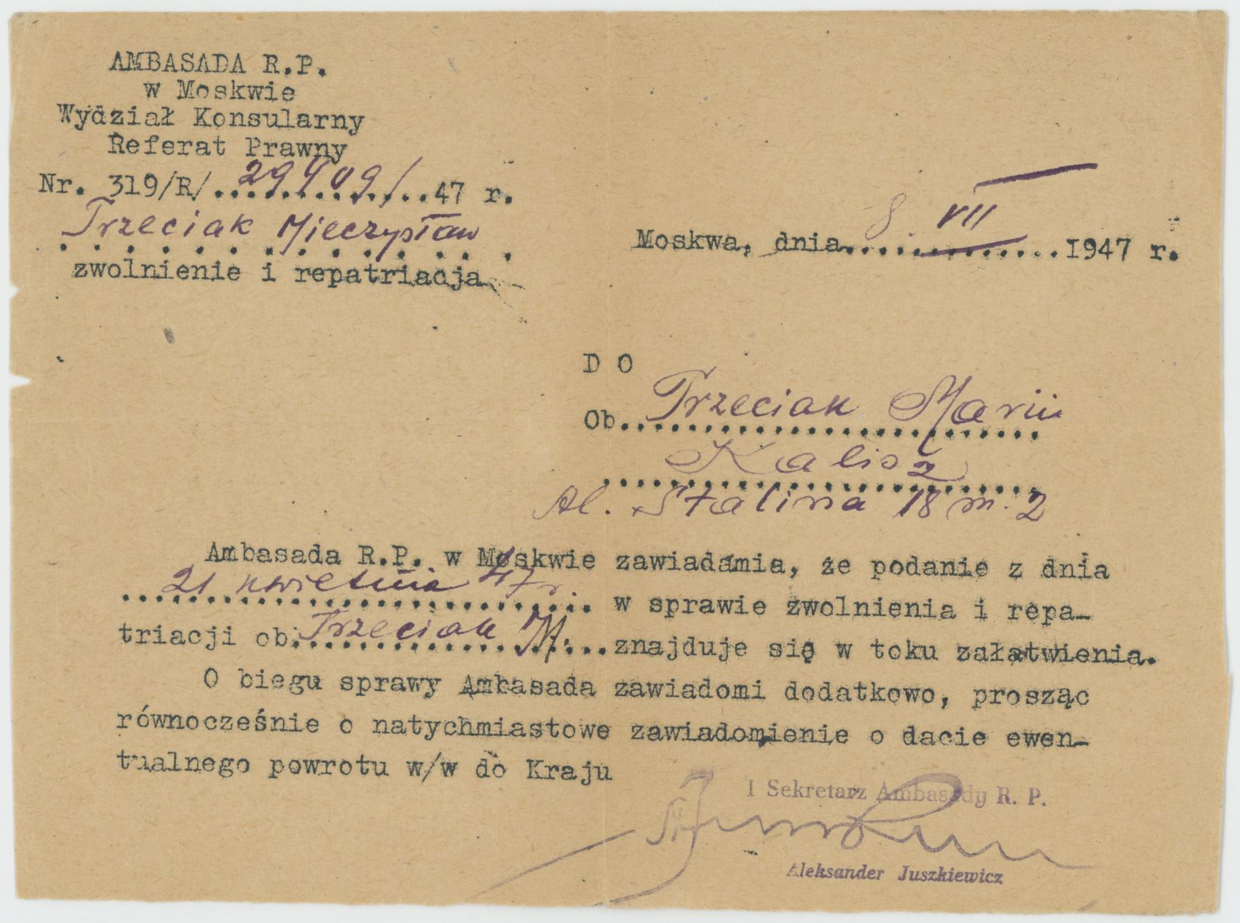 Pismo Ambasady w Moskwie o trybie zwolnienia i repatriacji Mieczysława Trzeciaka