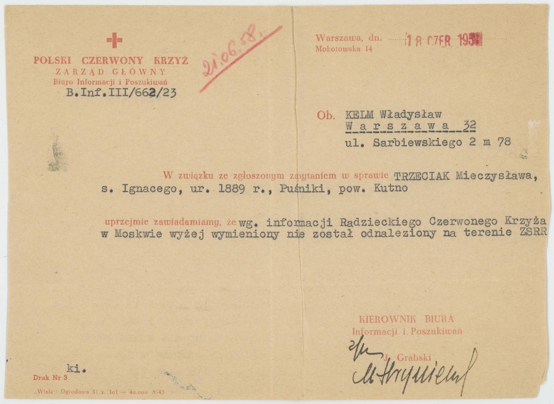 Pismo PCK do W. Kelma o nieodnalezieniu Mieczysława Trzeciaka