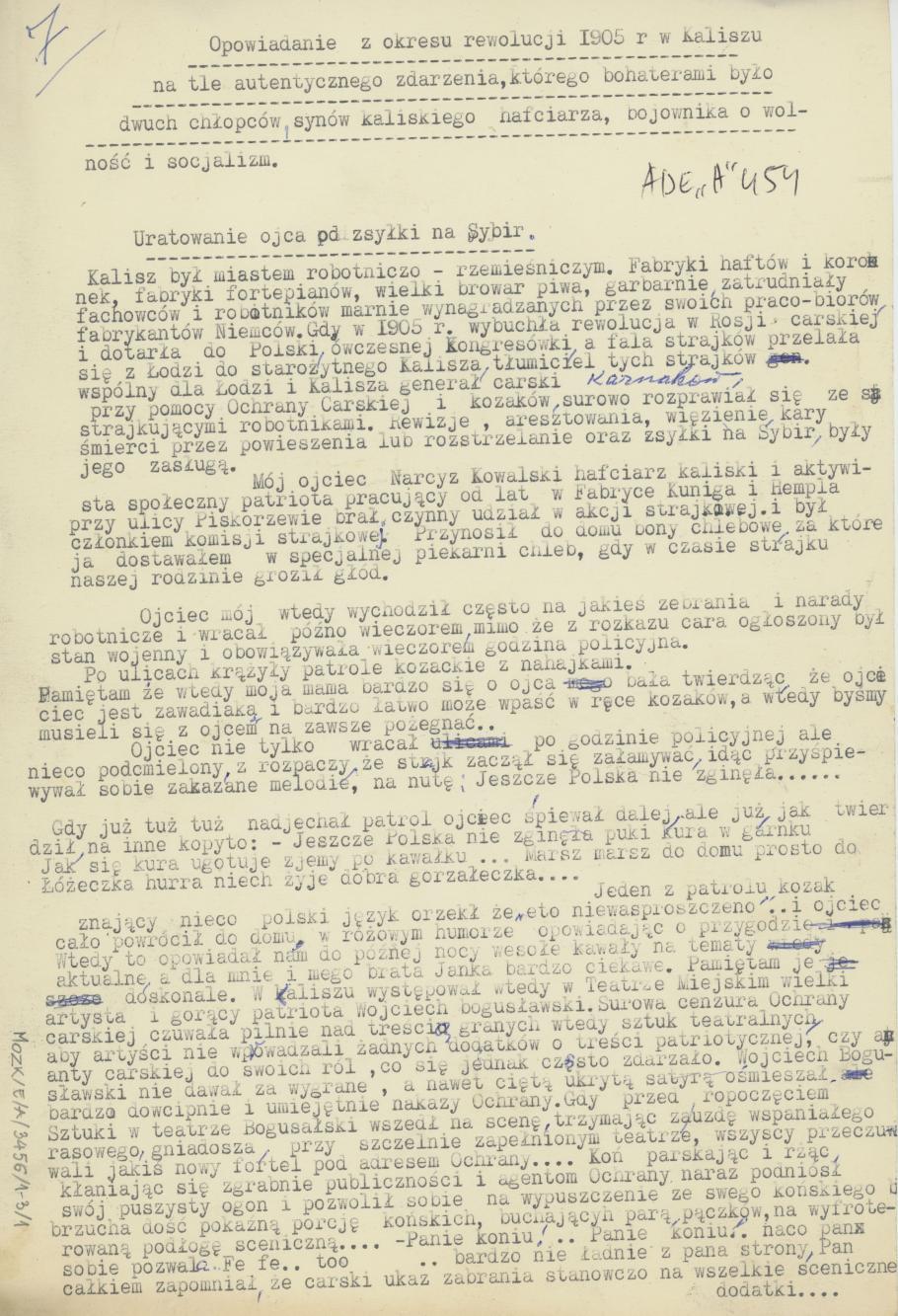 Opowiadanie z okresu rewolucji 1905 r. w Kaliszu