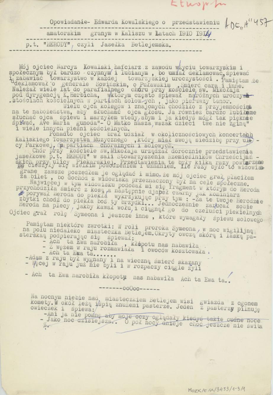 Przedstawienie amatorskie grane w Kaliszu w latach 1910-1914